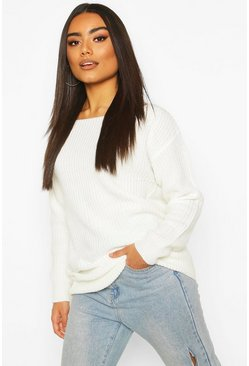 Cream white Slash Neck Fisherman Jumper