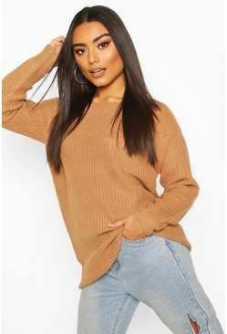 Toffee beige Slash Neck Fisherman Jumper