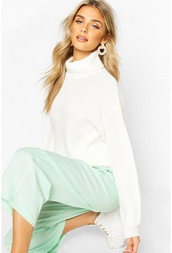 Cream white Fisherman Roll Neck Jumper