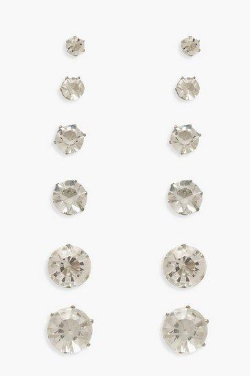 Silver 6 Pack Diamante Earrings