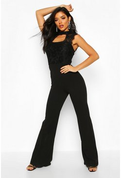Black High Neck Lace 2 in 1 Jumpsuit