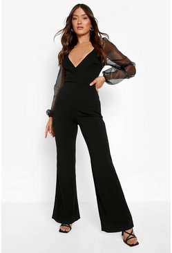 Organza Off The Shoulder Jumpsuit, Black nero
