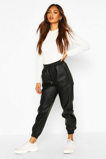 Black Leather Look Relaxed Fit Jogger