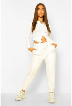 Ivory white Leather Look Relaxed Fit Jogger