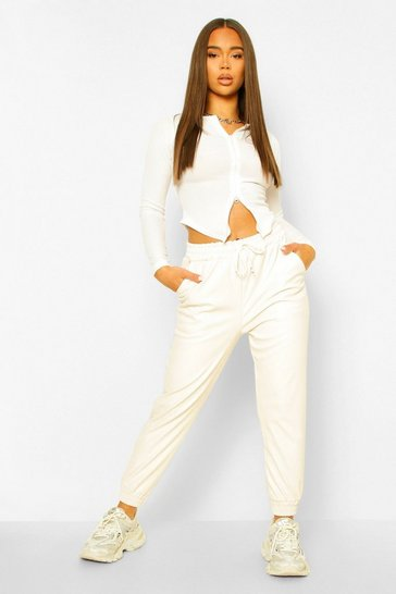 Ivory white White Leather Look Relaxed Fit Jogger