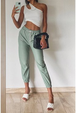 Leather Look Relaxed Fit Jogger, Sage