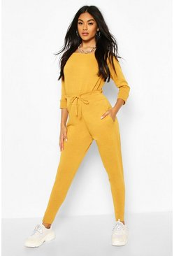 Mustard yellow Recycled Slash Neck Knitted Lounge Set
