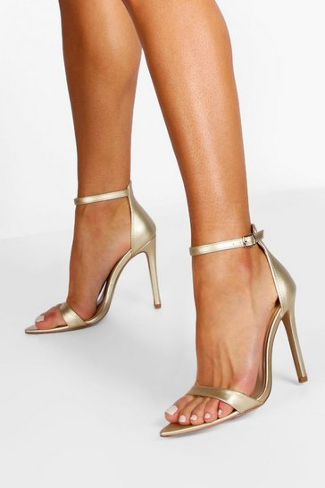 Gold metallic Pointed Toe Barely There Heels