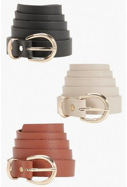 3 Pack Tonal Snake Buckle Belts, Black negro