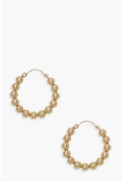Gold metallic Beaded Hoop Earrings