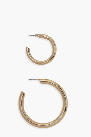 Gold metallic 2 Pack Chunky Hoop Earrings