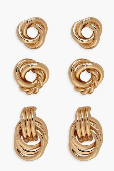 Gold metallic Twist Knot Stud Pack