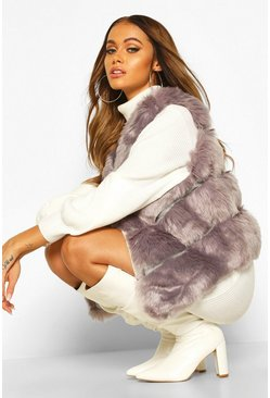 Grey Panelled Faux Fur Gilet