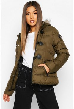 Khaki Short Quilted Puffer Jacket