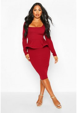 Berry red Peplum midi bodycon met lange mouwen