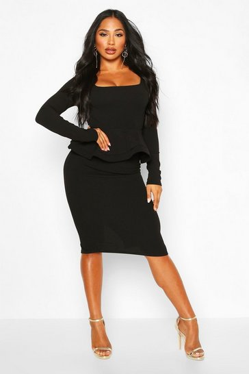 Black Long Sleeve Peplum Midi Bodycon