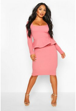 Dusty rose pink Long Sleeve Peplum Midi Bodycon