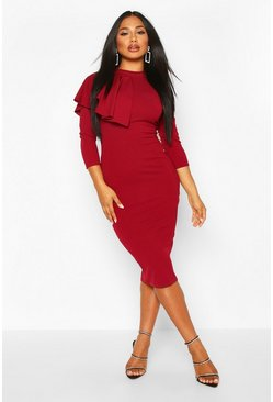 Berry red High Neck Pleated Ruffle Midi Dress