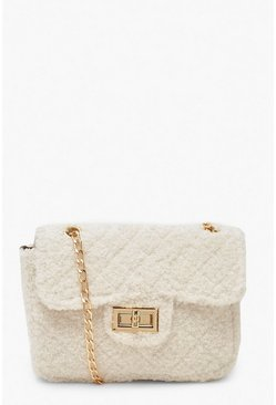 Cream white Teddy Faux Fur Mini Cross Body & Chain Bag