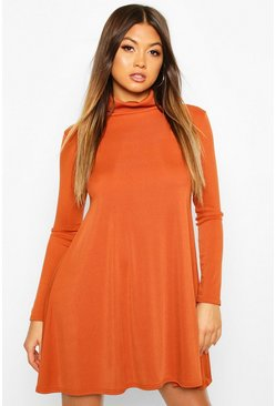 Rust orange Rib Turtleneck Swing Dress