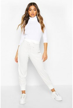 Ivory white Ribbed High Waist Loopback Jogger