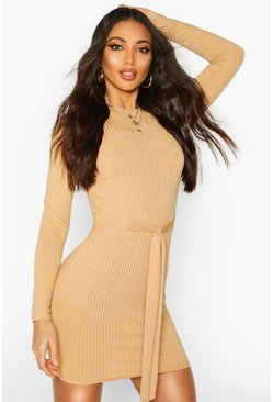 Camel beige Jumbo Ribbed Long Sleeve Tie Waist Mini Dress