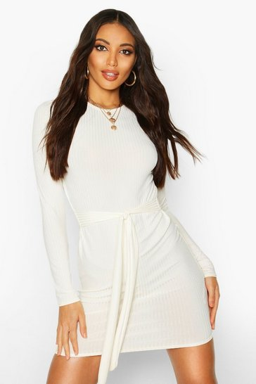 Ecru white Jumbo Ribbed Long Sleeve Tie Waist Mini Dress