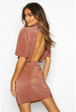 Rose pink Plisse High Neck Mini Dress