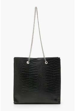 Black Premium Croc PU & Metal Bead Tote Bag