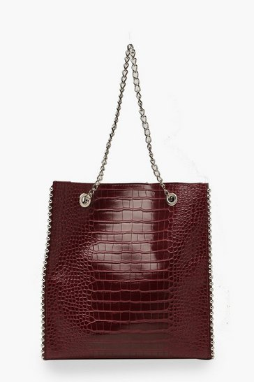 Burgundy red Premium Croc PU & Metal Bead Tote Bag