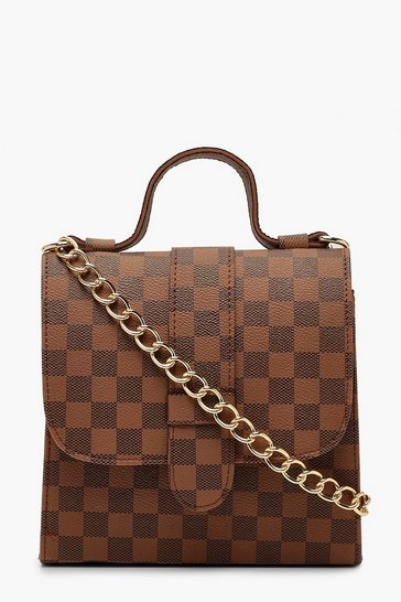 Brown Check Structured Mini Tote Cross Body Bag