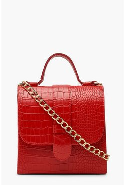 Red Croc Structured Mini Tote Bag