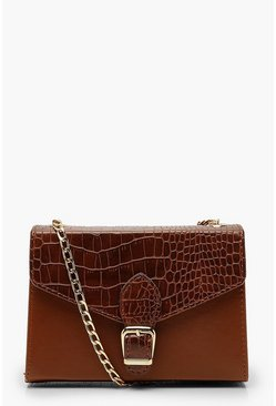 Tan brown Croc Buckle Detail Cross Body Bag