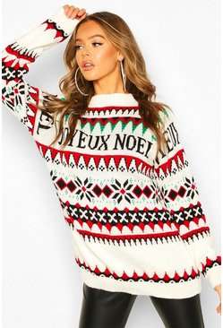 Cream Christmas Joyeux Noel Slogan Jumper