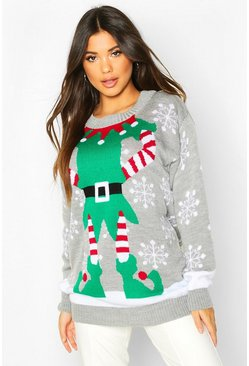 Grey Mrs Elf Christmas Jumper Dress