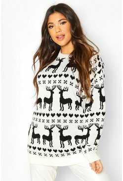 Cream white  Reindeer Fairisle Christmas Jumper
