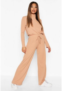 Camel beige Soft Rib Top And Wide Leg Pants Two-Piece Set
