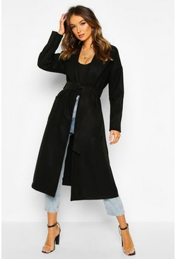 Black Oversized Robe Belted Coat