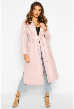 Blush pink Oversized Robe Belted Coat
