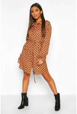 Bronze metallic Satin Geo Print Belted Shirt Dress