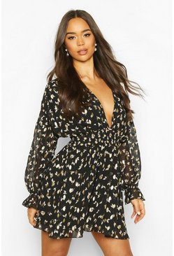 Black Foil Print Volume Sleeve Skater Dress