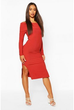 Brick orange Bardot Thick Rib Midi Dress