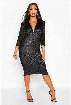 Black Velvet Croc Ruched Sleeve Midi Dress
