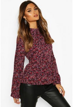 Berry red Ditsy Floral Ruffle Top