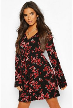 Black Floral Printed Smock Dress