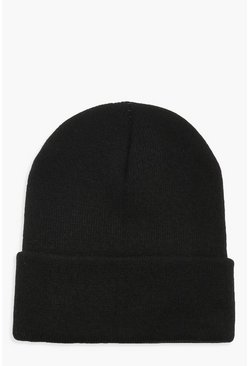 Black Basic Knitted Beanie