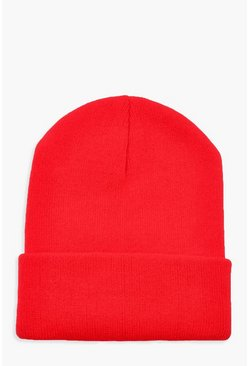 Red Basic Knitted Beanie