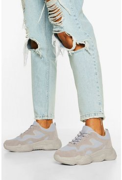 Grey Lace Up Bubble Sole Trainers
