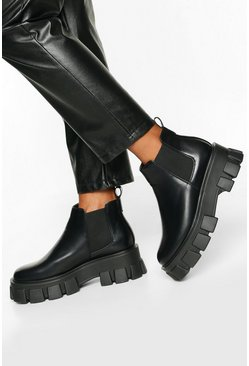 Black svart Chunky chelseaboots med räfflad sula