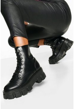 Black Chunky Cleated Combat Boots